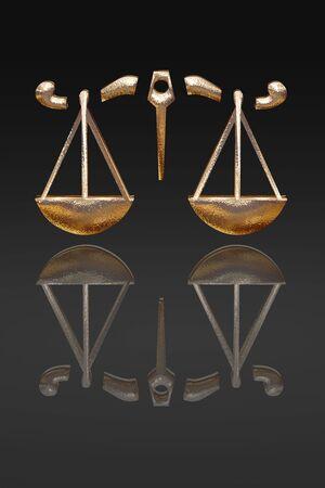 astrol�gico: 3D signos del Zodiaco, el oro metal en fondo negro  Foto de archivo