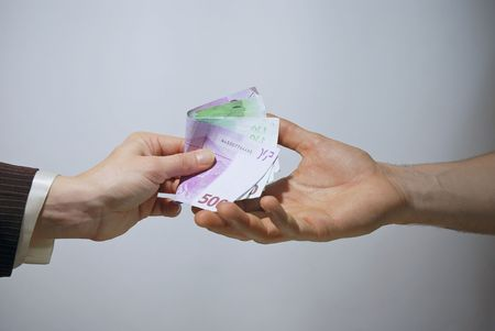Money in hand - euro cash payment