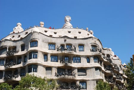 catalunia: Casa Mila or La Pedrera exterior with lots of curves, Barcelona, Spain