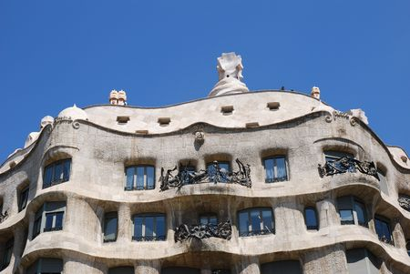 Casa Mila or La Pedrera exterior with lots of curves, Barcelona, Spain