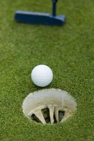 Golf club view of Golf ball in the putting green - sport  Stock Photo - 3047920