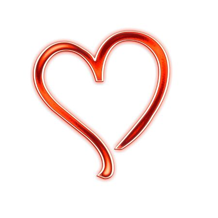 Composition from the red stylized hearts on a white background