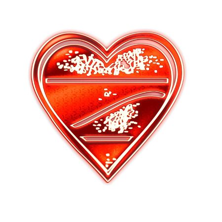 Composition from the red stylized hearts on a white background Banco de Imagens - 3052615