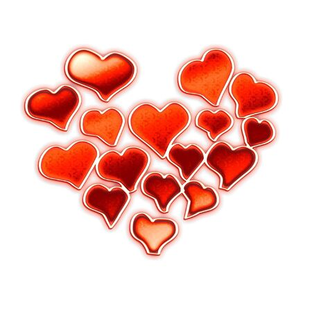Composition from the red stylized hearts on a white background Banco de Imagens - 3052612