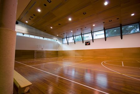indoor: A perspective view of basketball indoor sport court