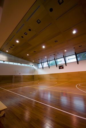 court room: A perspective view of basketball indoor sport court
