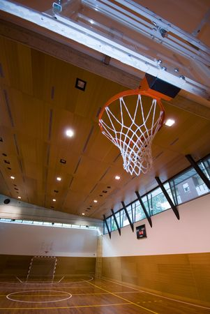 A perspective view of basketball indoor sport court photo