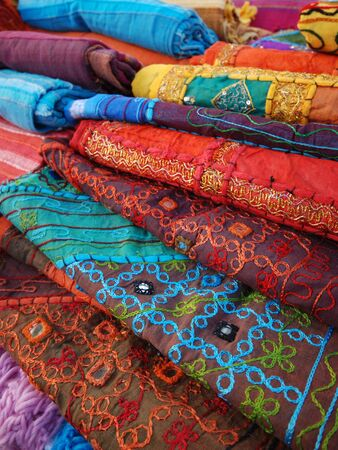 colored fabrics and  textile products Stock Photo