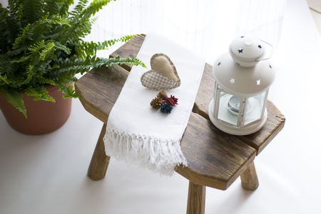 interrior: bench with towel and  lamp Stock Photo