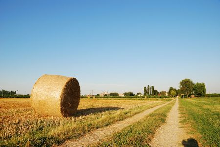 Straw bales on italian farmland with blue sky Stock Photo - 3371380