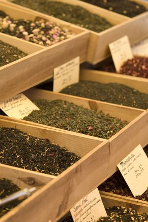 herbage: oriental spices for sale - on a french market in the provence Stock Photo