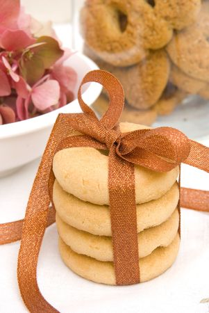 Sweet cookies with flowers background Stock Photo - 3504832