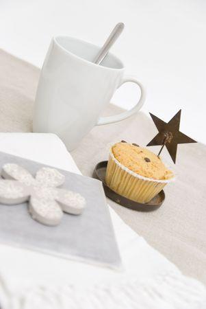 Mug coffee and muffin breakfast  photo