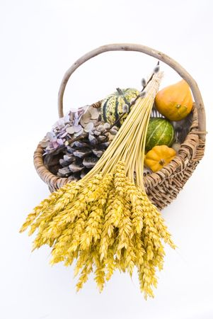 Wicker basket with autumn fruit and vegetables, isolated Stock Photo - 3667066