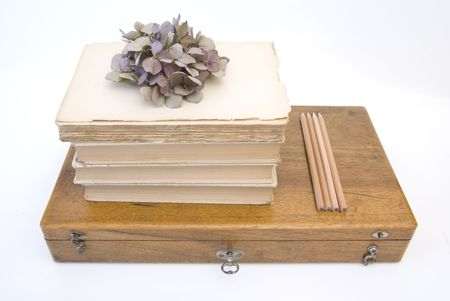 Vintage background with old books and wood box photo