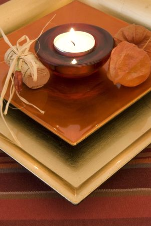 close-up  red romantic candle setting photo