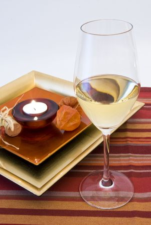 close-up  red & romantic wine dinner setting and candle Stock Photo - 3674875