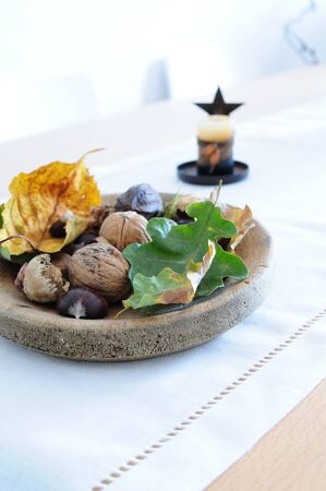 conker: Still life or table autumnal decoration for Thanksgiving Stock Photo