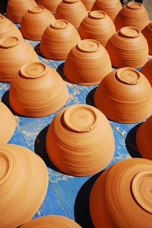 handmade new clay pot closeup in provence france Banco de Imagens