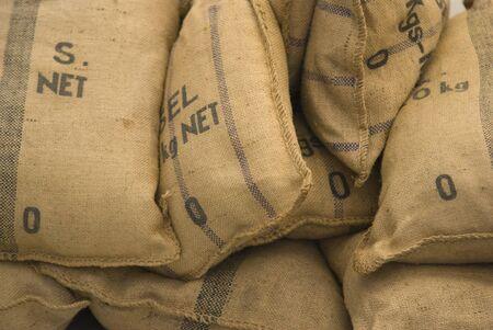 sackcloth: Old Brown textured sack close-up