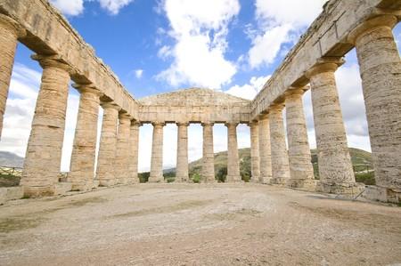 Ancient greek temple in segesta acropolis sicily Italy photo