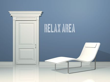 deckchair relax area, interior design with minimal elements Stock Photo - 4715921