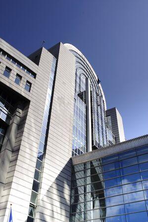 Parlament: Facade of european parlament modern buildings in Brussels - Belgium Stock Photo