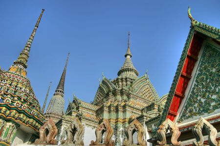 wat pho temple chedis, very wide angle view Stock Photo - 1208968
