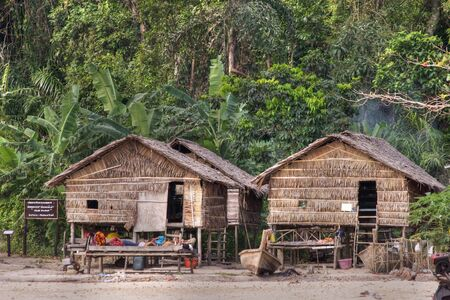 shanty: moken wooden village, the sea gypsies of andaman sea, ko surin island, thailand
