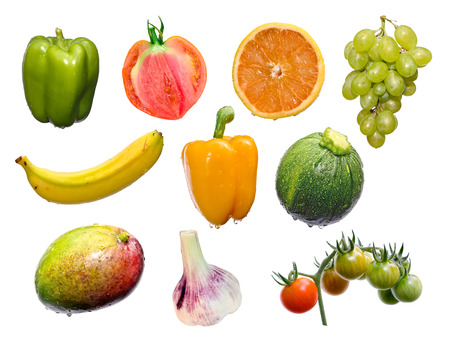 fruits and vegetables mix isolated on white, see also single larger files Stock Photo