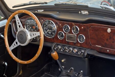 french beautiful retro sport-car interior  photo