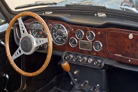 sportcar: french beautiful retro sport-car interior