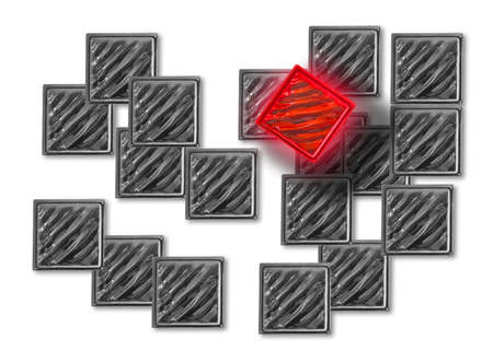 many grey glass squares, one red and shining. Stock Photo - 1665397