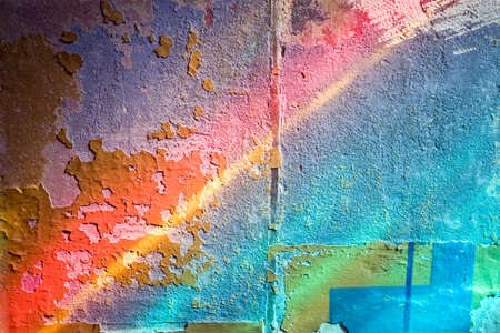 ray trace: ancient wall background with sunlight beams through stained glass Stock Photo