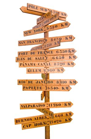 rambler: sign post with many world directions and distances isolated on white Stock Photo