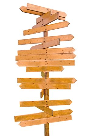 which: wooden sign post with many directions, ready for editing Stock Photo