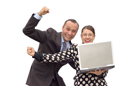 business couple receiving good news and celebrating Stock Photo