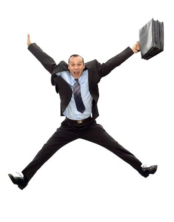 smiling dynamic businessman jumping with briefcase isolated on white background photo