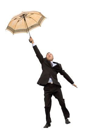 businessman flying with umbrella isolated on white