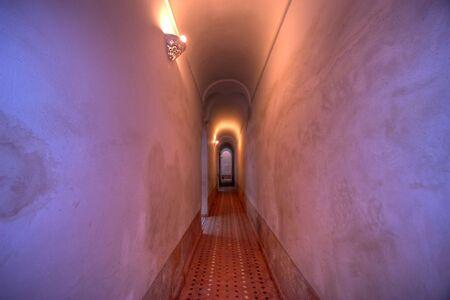 dynamic long corridor in ben youssef school, marrakesh, morocco Stock Photo - 2146851
