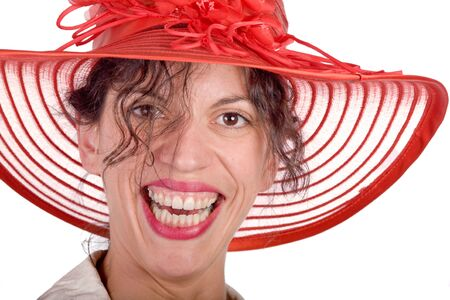 yuck: brown haired woman with red hat  laughting on white background