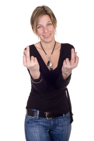 blond woman doing double bad gesture on white background Stock Photo - 2526373