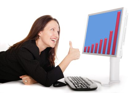 happy business woman looking the graphs on modern screen Stock Photo - 3572024
