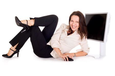 sexy businesswoman holding computer mouse against lcd screen