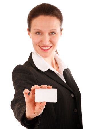 woman showing blank business card on white Stock Photo - 3571975