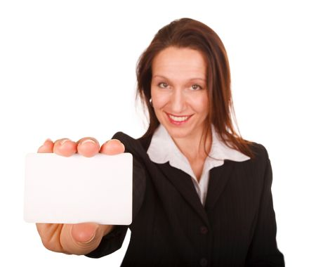 businesswoman showing blank  card on white  Stock Photo - 3571957