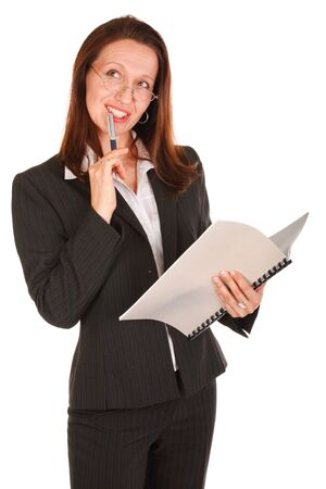 thoughful Businesswoman holding pen and note book on white Stock Photo - 3572029
