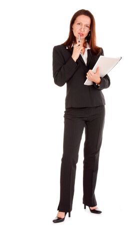 Businesswoman holding pen and notebook on white Stock Photo - 3571972