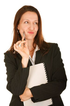 portrait of Businesswoman holding pen and notebook on white Stock Photo - 3572031