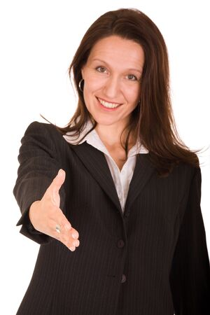 smiling businesswoman holding hand on white background Stock Photo - 3572028